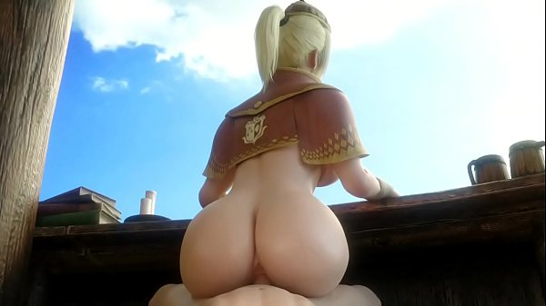 Hub Lass (Monster Hunter) Rides a Cock While Working